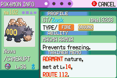 Pokemon Emerald - Character Profile  - my first shiny ever - User Screenshot